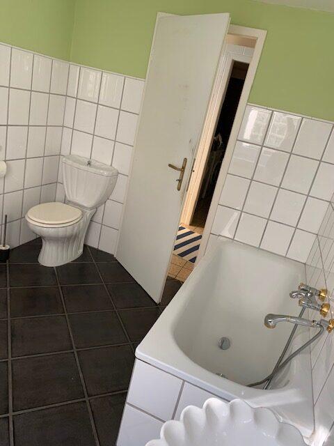 Badumbau Bild 3 vorher, Blick auf WC, Badewanne und Tür